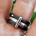 Кольцо с черной керамикой Клевер - Кольцо брендовое серебро с керамикой, фото 3