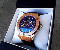Кварцевые мужские часы Hublot Элитные с золотистым корпусом Популярный аксессуар Отличный подарок  Код: КГ4622