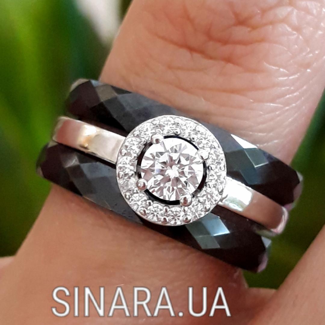 Серебряное кольцо Аморе с черной керамикой - Кольцо с керамикой серебро 925