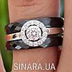 Серебряное кольцо Аморе с черной керамикой - Кольцо с керамикой серебро 925, фото 3