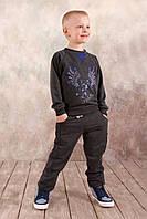Детские спортивные брюки из натуральной ткани для мальчика 3-8 лет (р. 98-128) ТМ Модный карапуз Темно-серый