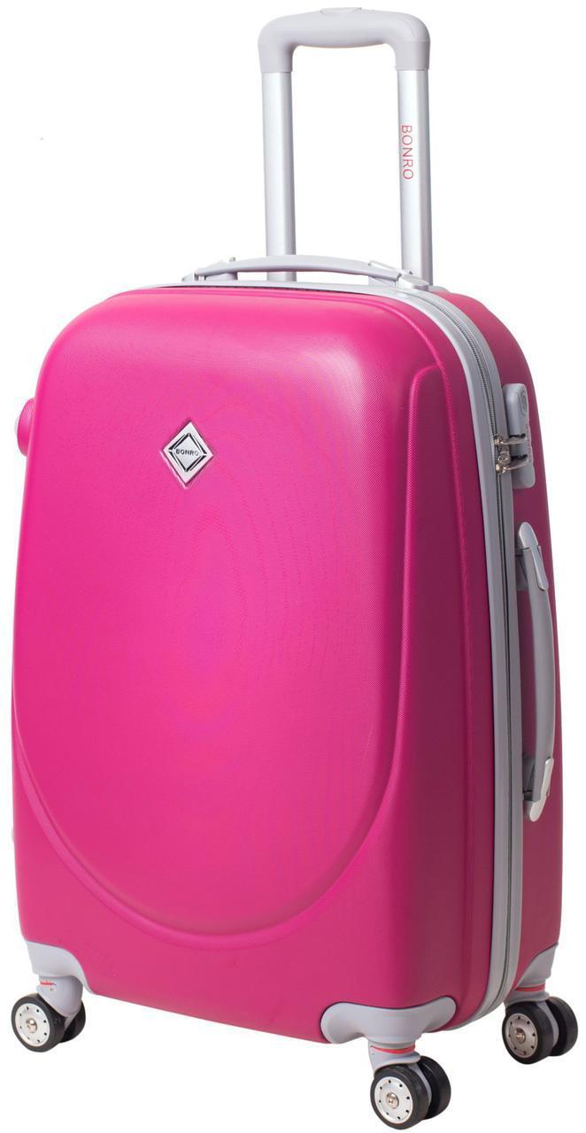 Дорожный чемодан на колесах Bonro Smile с двойными колесами Малиновый Средний