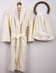 Халат махровый с полотенцем Begonville Bouquet крем M