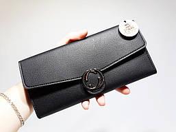 Черный женский кошелек Gucci копия хорошего качества