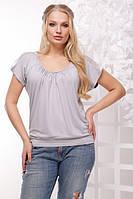 Женская серая футболка большого размера КАМЕЛИЯ ТМ Lenida 50-56 размеры