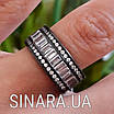 """Срібне кільце з чорним родієм і камінням """"Багет"""" - Кільце срібло 925, фото 5"""