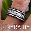 """Срібне кільце з чорним родієм і камінням """"Багет"""" - Кільце срібло 925, фото 4"""