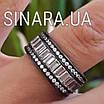 """Срібне кільце з чорним родієм і камінням """"Багет"""" - Кільце срібло 925, фото 2"""