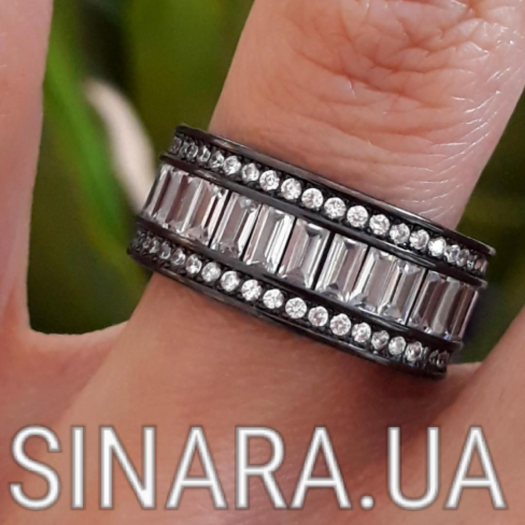 """Срібне кільце з чорним родієм і камінням """"Багет"""" - Кільце срібло 925"""
