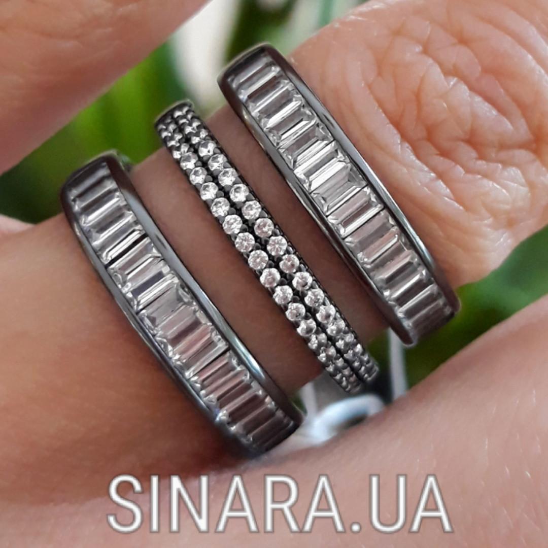 """Серебряное кольцо 3 дорожки с черным родием и камнями """"Багет"""" - Кольцо серебро 925"""