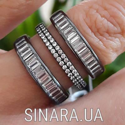 """Срібне кільце 3 доріжки з чорним родієм і камінням """"Багет"""" - Кільце срібло 925"""