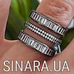 """Серебряное кольцо 3 дорожки с черным родием и камнями """"Багет"""" - Кольцо серебро 925, фото 2"""