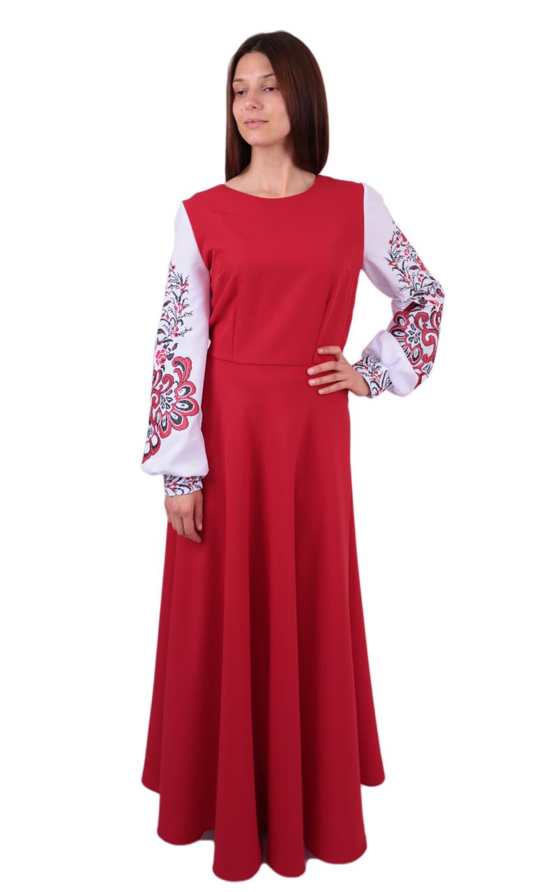 f4be87f33d6e2e Вишите довге плаття на габардині червоного кольору з машинною вишивкою -  Інтернет-магазин вишиванок для