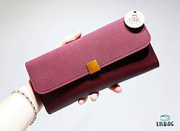 Женский классический кошелек бордового цвета на кнопке