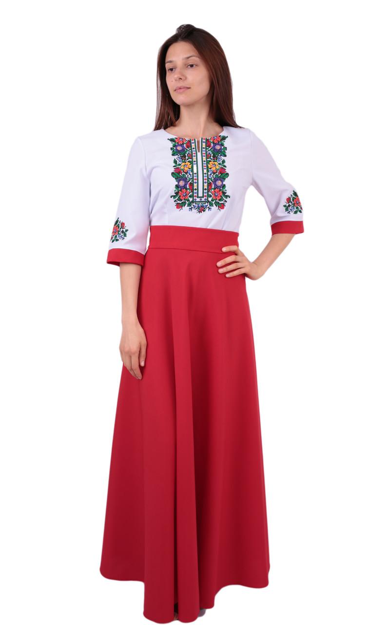 b8eb1c3a483cdf Вишите довге плаття на габардині біло-червоного кольору з машинною вишивкою