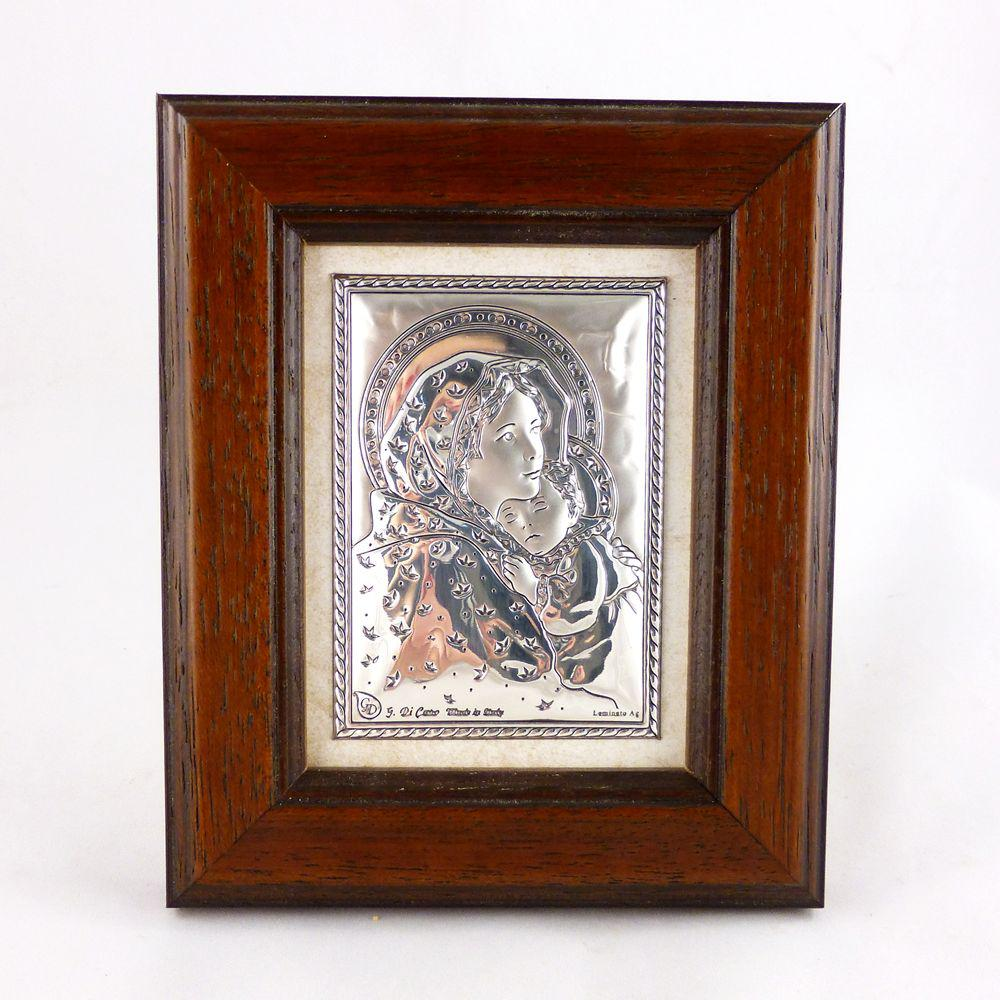 Образ Святая Мария с Иисусом в деревянной рамке