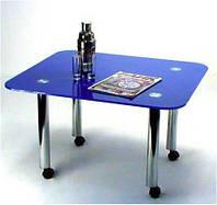 """Стол журнальный стеклянный на хромированных ножках Maxi  LT R1 800/710 """"синий"""" стекло, хром"""