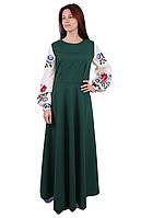 Вишите довге плаття на габардині зеленого кольору з машинною вишивкою на довгий рукав