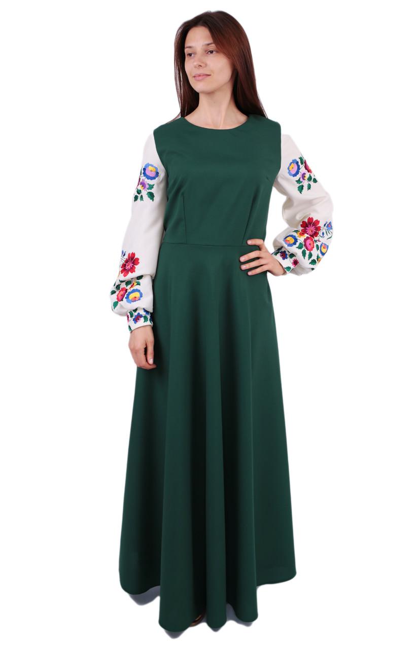 2fba2598d0c2a8 Вишите довге плаття на габардині зеленого кольору з машинною вишивкою на  довгий рукав - Інтернет-