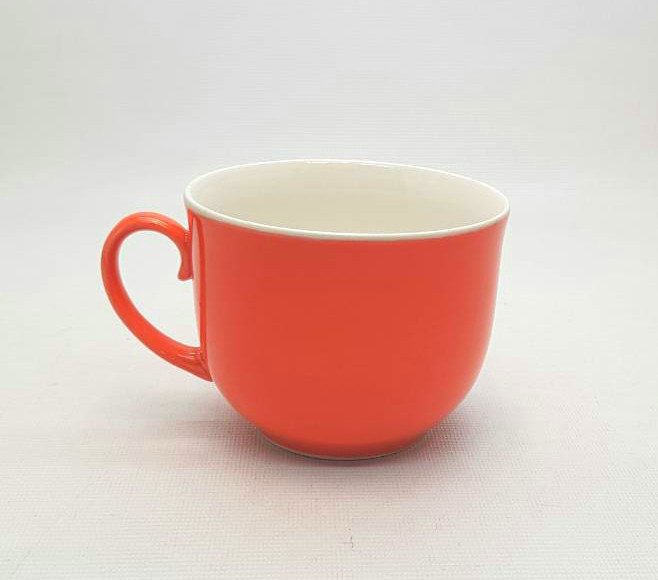 Кружка джамбо, цветная глазурь - оранжевая, 500 мл.