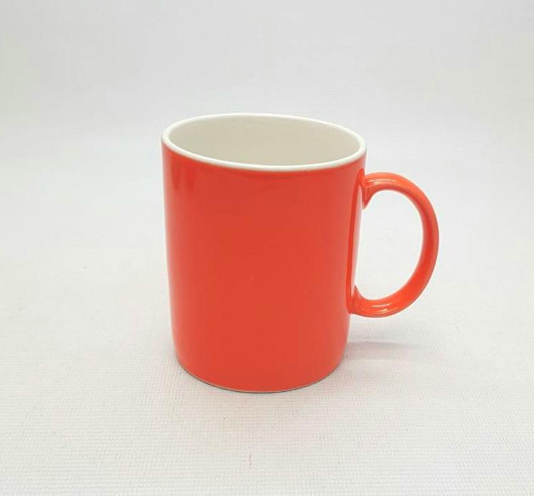 Кружка цилиндр, цветная глазурь - оранжевая, 320 мл.