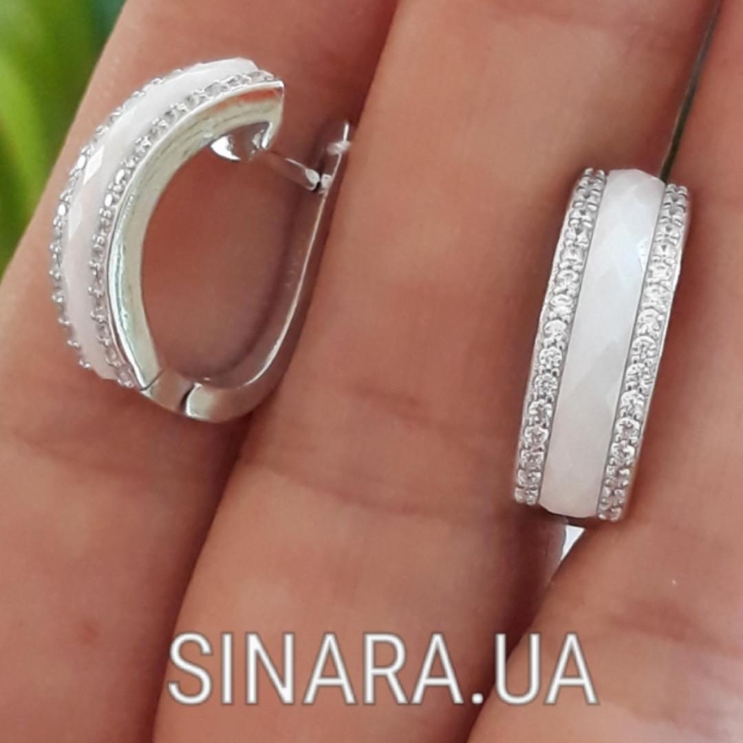 Серебряные серьги с керамикой - Серьги керамика серебро