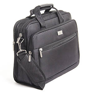 Сумка для ноутбука BAOHUA горизонтальная 41х30х16 чёрная, ткань Карбон «Plain» кс6915, фото 2