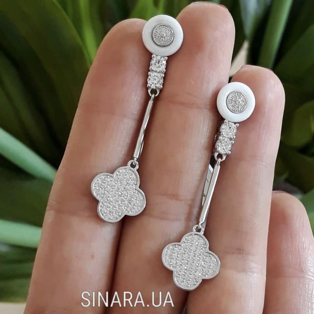 Серебряные серьги с керамикой Ван Клиф - Серьги из керамики Van Cleef
