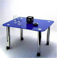 """Стол журнальный стеклянный на хромированных ножках Maxi  LT Е1 700/710 """"синий"""" стекло, хром"""