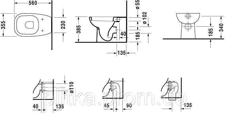 Унитаз напольный Duravit D-Code 21150900002 (под инсталляцию), фото 2
