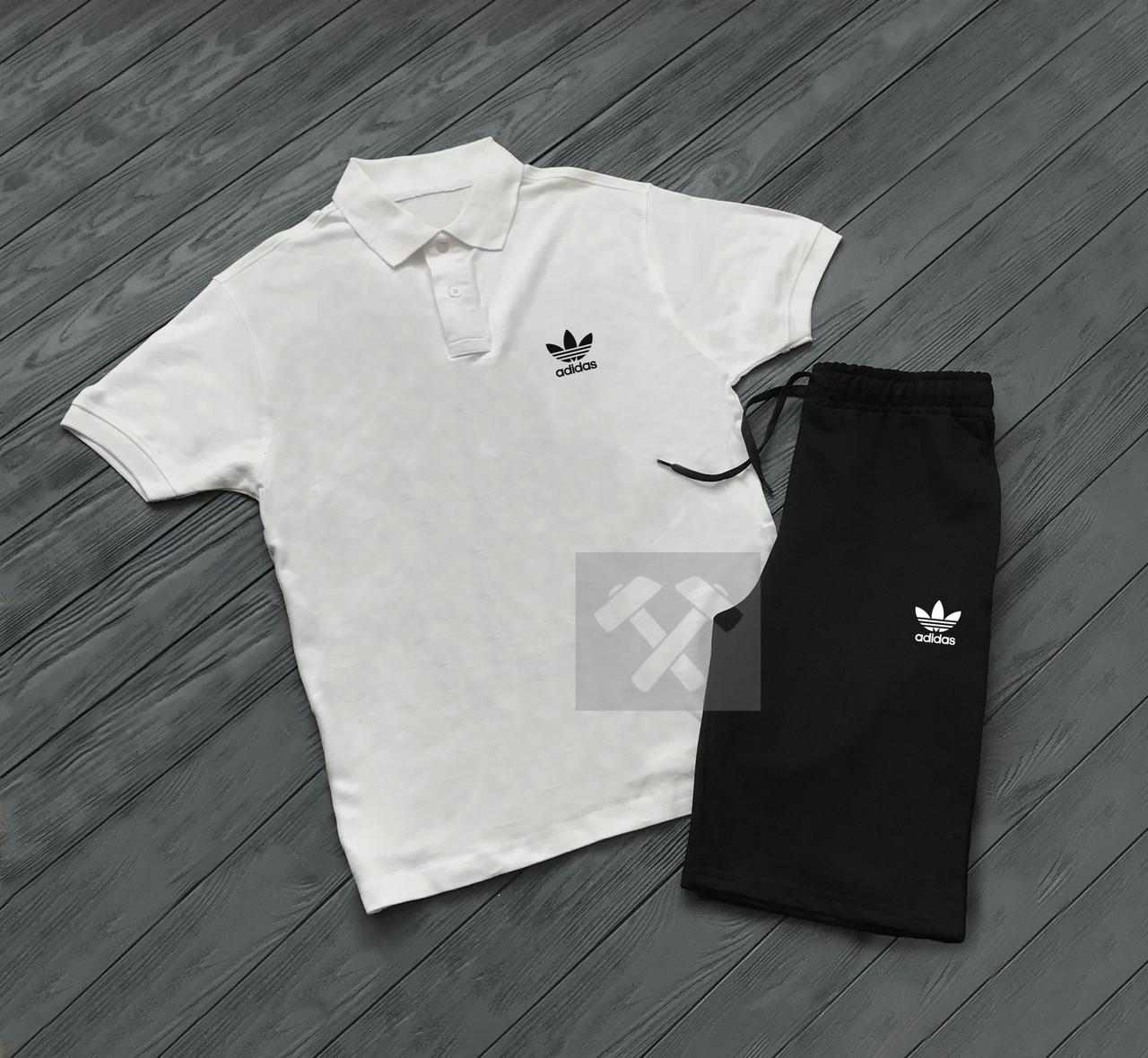 b0df18751033 Летний мужской спортивный костюм Adidas Originals белый верх черный низ -  Интернет магазин обуви «im