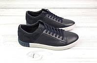 Мужские туфли-кеды-слипоны кожаные/замшевые чёрные/белые Uk0500