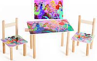 Детский Набор столик и два цветных стульчика Винкс, детский столик со стульчиками