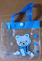 Сумочка детская 13х13 см Мишка голубая