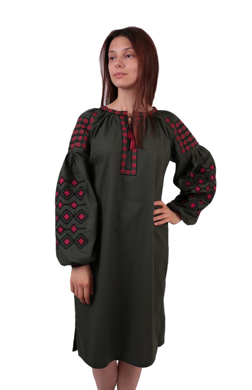 Вишите бавовняне коротке плаття з машинною вишивкою на довгий рукав