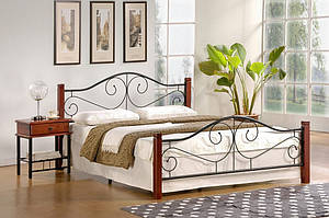 Кровать Violetta 140 x 200 Черешня античная + черный или белый