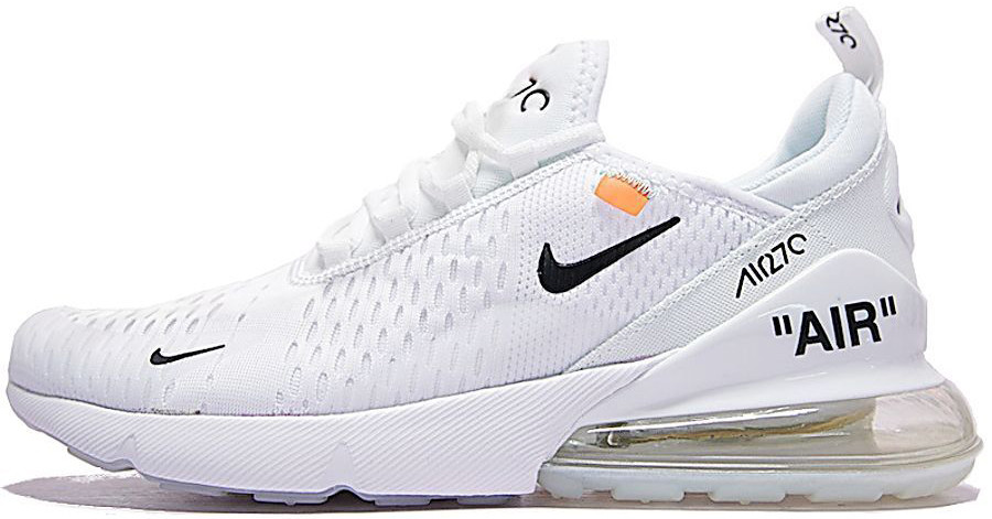Женские кроссовки Off-White x Nike Air Max 270 (Найк Аир Макс) белые