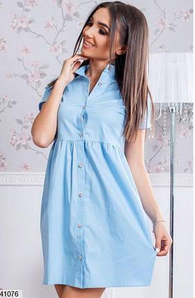 Свободное платье короткое с воротником голубое, фото 2