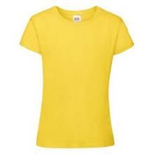 Футболка для девочек мягкая и  приталенная Fruit of the loom желтый