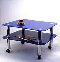 """Стол журнальный стеклянный на хромированных ножках Maxi  LT Е2 800/710 """"синий"""" стекло, хром"""