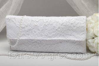 Свадебный клатч кружевной белый