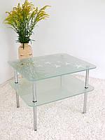 """Стол журнальный стеклянный на хромированных ножках Maxi  LT R2 650/550 """"метеор"""" стекло, хром, фото 1"""