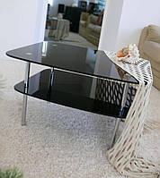 """Стол журнальный стеклянный на хромированных ножках Maxi LT DX2 800/680 (25) """"черный"""" стекло, хром"""
