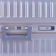 Чемодан BagHouse пластиковый 4 колеса 47х66х32, цвет серый  кс801бсер, фото 3