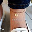 Серебряный браслет на ногу с кристаллами - Браслет на ногу серебро с кристаллами Сердце и родием под золото, фото 3