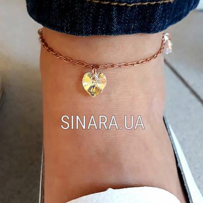 Срібний браслет на ногу з кристалами - Браслет на ногу срібло з кристалами Серце і родієм під золото