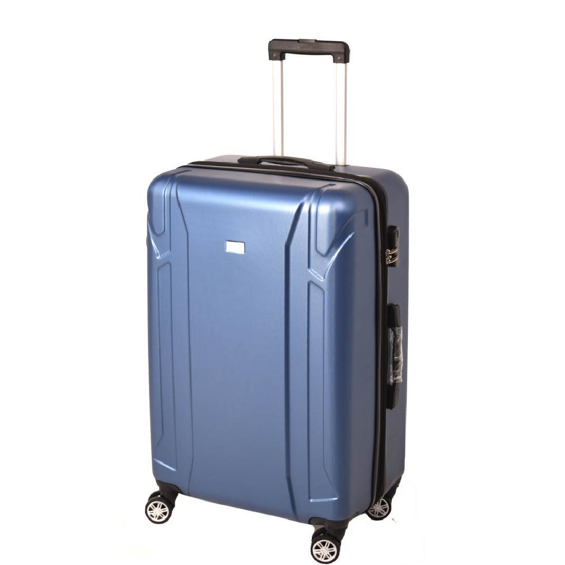 Чемодан LYS пластиковый, большой, с расширением, 4 колеса 50х70х30(+4) синий ксЛ722-28гол