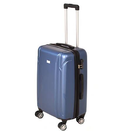 Чемодан пластиковый LYS, средний с расширением 4 колеса 41х60х26(+4) синий ксЛ722-24гол , фото 2