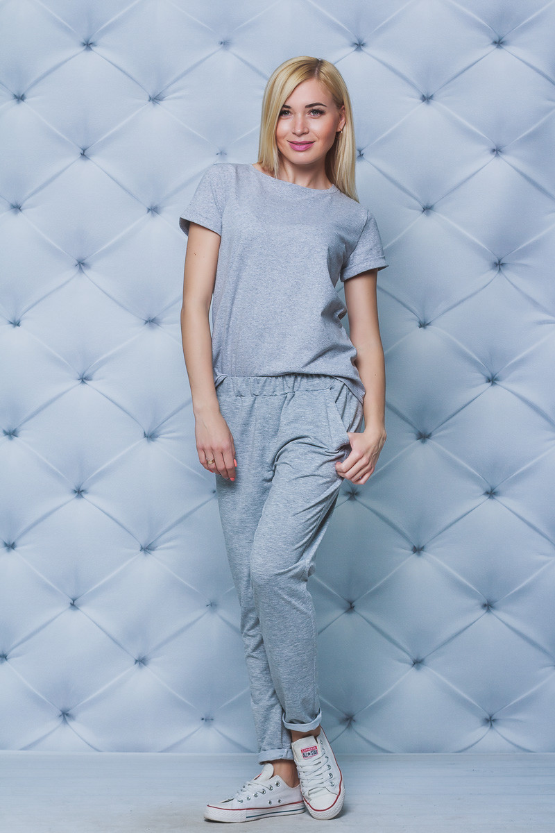 Костюм женский джоггеры+футболка меланж