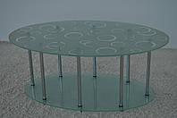 """Стол журнальный стеклянный на хромированных ножках Maxi LT O2 920/540 (25) """"колонна"""" стекло, хром, фото 1"""